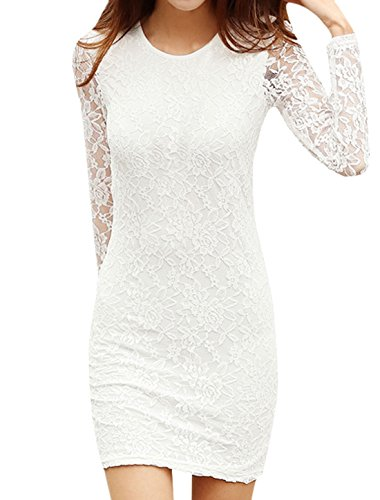 Sourcingmap - Robe - Manches Longues - Femme blanc blanc S (36 ) white