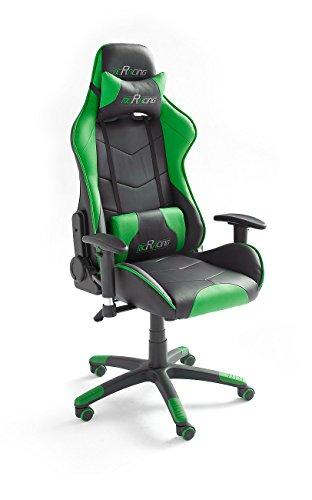 MC Racing 8, Gamingstuhl, Bürostuhl, Schreibtischstuhl, inklusiv Kissen, schwarz/grün, 69 x 125-135 x 58 cm, 62498SU3