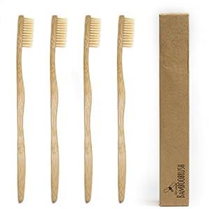 BeeClean Bamboobrush Set Ökologischen Hand-Zahnbürsten aus nachhaltigem Bambus mit mittel-weichen natur-Borsten in biologisch abbaubarer Verpackung 100% ohne Plastik und PBA frei 100% Bambus