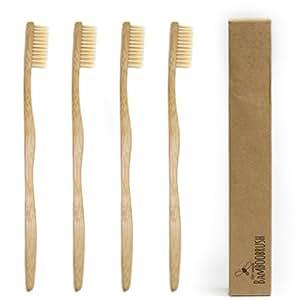 BeeClean Bamboobrush Set aus 4 Ökologischen Hand-Zahnbürsten für Erwachsene aus nachhaltigem Bambus-Holz mit mittel-weichen natur-Borsten in der biologisch abbaubaren Verpackung-100% Bambus