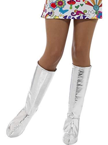 �m Accessoires Zubehör Damen 70er Jahre GoGo Boot Covers Stiefelüberzieher, perfekt für Karneval, Fasching und Fastnacht, Silber ()