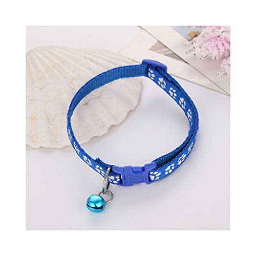 Goodsthing Haustierhalsband, Halsbänder für Hunde, Nylon with Bell Pet Cute Fashion Paw Dog Cat Puppy Charm Adjustable Lovely Safety Collars 1PC New Buckle Blue Paw M -