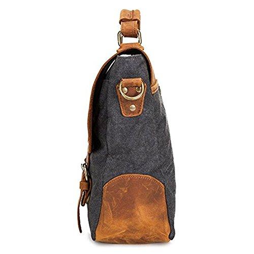 DoubleMay Herren Männer Vintage Retro Canvas Leder Aktentasche Messenger Bag / Umhängetasche / Business Bag/ Laptop Tasche / Schultertasche ideal für Studium Büro oder Freizeit Outdoor (Grau) Dunkelgrau