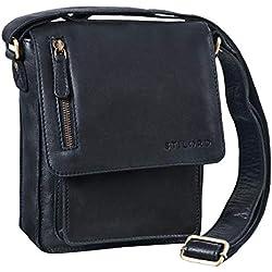 STILORD 'Finn' Bolso Mensajero Mediano de Piel Vintage para Mujeres y Hombres Bolsa de Hombro o Bandolera Mariconera Tablet de 8.4' auténtico Cuero, Color:Negro