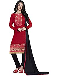 LAVIS Women's Cotton Dress Material (Ranisak112_Free Size_Red)