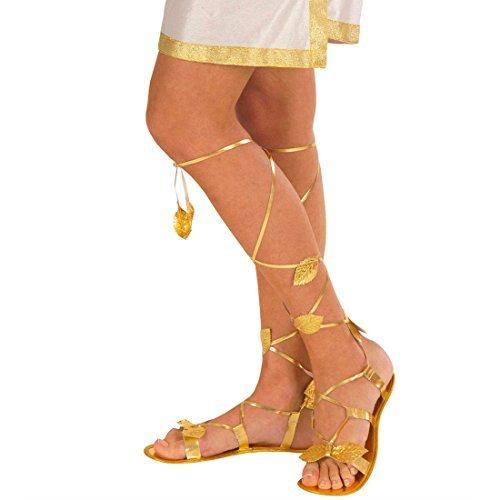 (Damen Römersandalen in gold Antike Schuhe gold Griechische Göttin Elfenschuhe Römische Damen Sandalen Römerin Griechin Elfe Kostüm Accessoire)