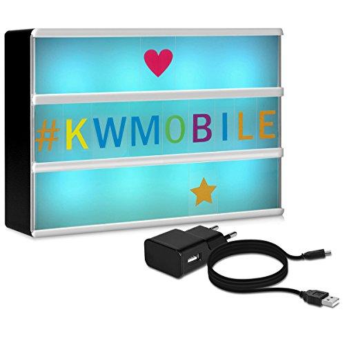 kwmobile caja de luz LED A6 de color cambiante - 7 colores 126 letras de colores - fuente de alimentación USB