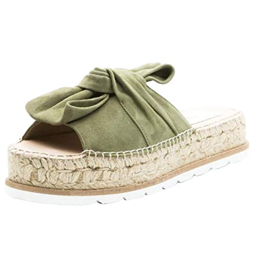 Pingtr - Damen Sandalen Pantoletten Hausschuhe,Frauen Peep Toe Casual Bogen Knoten Kreuz Dicke Sommer Slipper Sandalen Schuhe