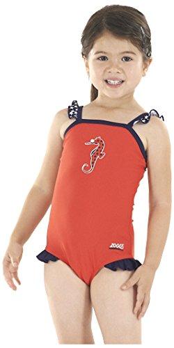 Zoggs Girl 's Seepferdchen Classic Back Badeanzug, Mädchen, Seahorse Classicback, (Kleinkind Kostüm Seepferdchen)