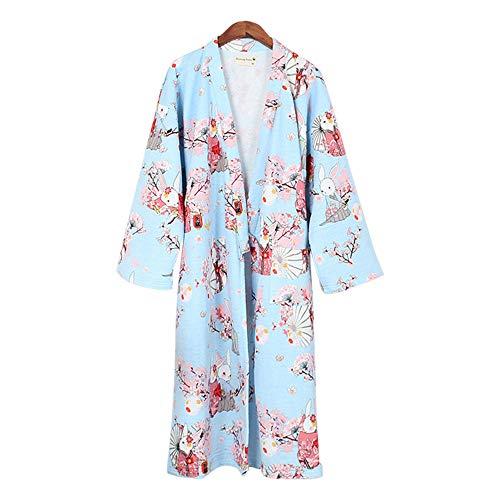 ZooBoo Damen Kimono Nachthemd Bademantel - Nachtwäsche Luftschicht Verdickung Hauskleidung Pyjamas Gewand Wärmehaltung Japanischer Stil Stoffdruck Cartoon Herbst Winter - Baumwolle (L, Blau-Kaninchen)