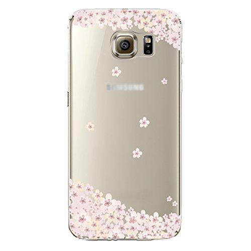 Galaxy S7 Hülle,SainCat Galaxy S7 Silikon Hülle Tasche Handyhülle Rosa Blumen Bäume Karikatur Katze Muster Schutzhülle Ultradünnen Kratzfeste Hülle Transparent TPU Gel Case Bumper Weiche Crystal Kirst Rosa Blüten