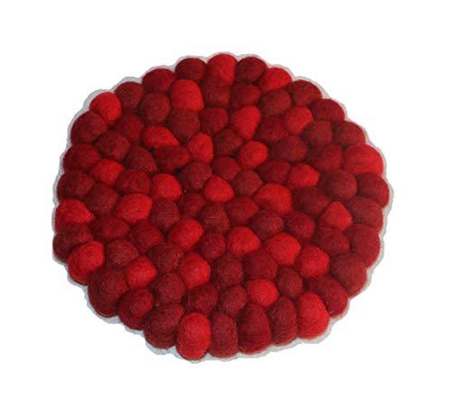 Generische Filzkugel Untersetzer/Wohndesign / Dekoration/Homedecor / Interiordesign/Tischdeko / Lifestyle - Wolle - handgemacht in Nepal - rot, rund, 16cm -