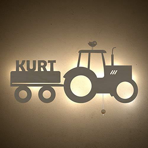Nachtlicht Traki der Traktor Kinderzimmer-Lampe/Tauf-Geschenk oder zur Geburt/Personalisiert mit Wunsch-Name für Mädchen oder Jungen Schlummerleuchte Babyzimmer Stilleuchte [Energieklasse A++]