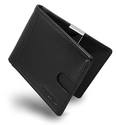POLIVA Geldklammer Leder, 6 Kartenfächer, Schwarz (Schwarze Brieftasche Leder-geld-clip)