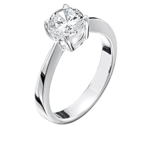 Jo for Girls Solitär-Ring Sterling-Silber 925 Zirkonia transparent