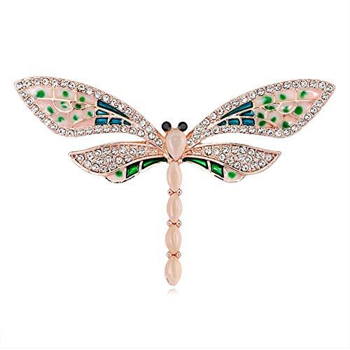 Qinlee Damen Brosches Farbige Dragonfly Brooch Pin Elegantes Temperament Mädchen Kragen Pin Ansteckernadel Kleidung Zubehör Schmuck für Festival Party -