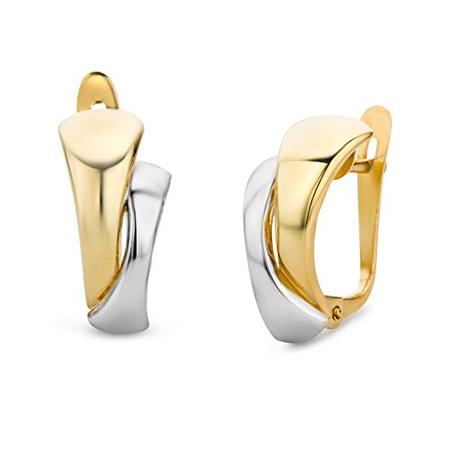 Miore Ohrringe Damen Bicolor Gelbgold / Weißgold 14 Karat / 585 Gold Ohrclips