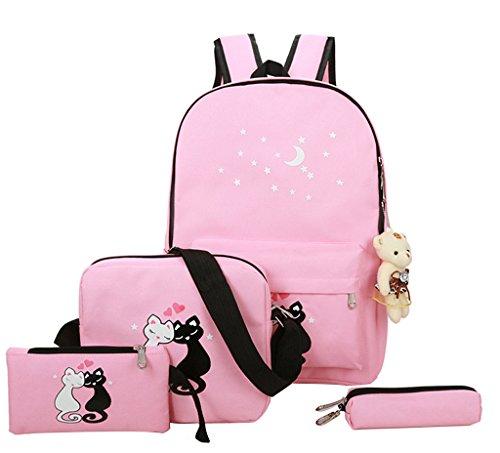 Mädchen Damen Canvas Schulrucksack 4set Teenager Kinder Jugendliche Rucksack/Schultasche+Schultertasche/Messenger Bag+Geldbeutel+Mäppchen Causal Rucksack Freizeitrucksack Daypacks Backpack Katze Pink