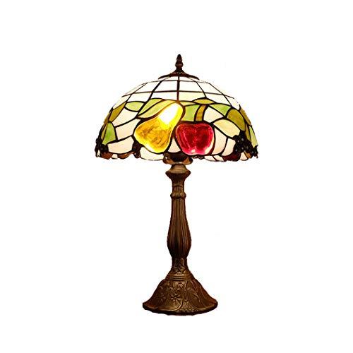 Light-GYH Tiffany Nachttischlampe, Kreative Obst Schlafzimmer Dimmbare Tischlampe, Retro Mode Glasmalerei Nachttisch Schreibtischlampe für Wohnzimmer, Cafe, E27