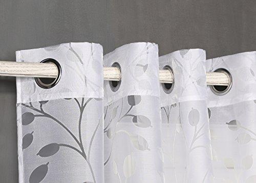Pimpamtex - tenda trasparente con 8 ochielli, 140 x 260 cm, per soggiorno, camera da letto e camara. tende moderne modello burnout alborea - (1 pennello - 140x260, bianca)