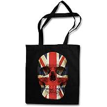 UNION JACK UK SKULL FLAG Réutilisable Pochette Sac De Courses en Coton Hipster Reusable Shopping Bag - death's head bannière crâne flag drapeau États Unis Great Britain England MOD