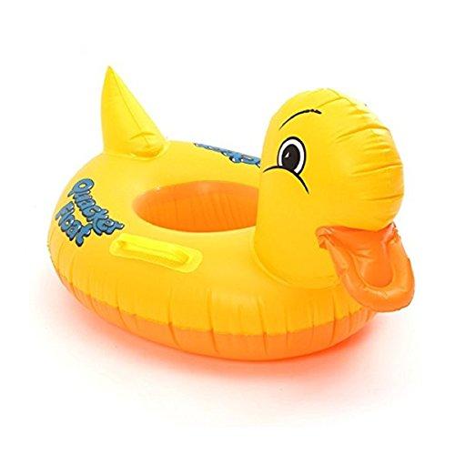 FUNTOK Baby Schwimmsitz Wasserspielring Schwimmring Kinderboot Schwimmhilfe Gelbe Ente Aufblasbarer Schwimmreifen für Kinder Wasserspaß