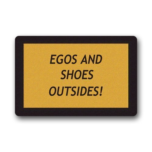 BUZRL Custom Evergreen Fashion Quotes Humor Egos and Shoes Outside Machine Washable Doormat Gate Pad Rug 23.6