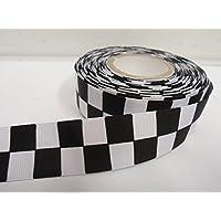 1 rollo de tejido de la cinta del grosgrain de 25 mm x 20 metros, Negro y blanco bloque cuadrado, a cuadros, modelo a cuadros, meta, cuadrados, de carreras. 25mm