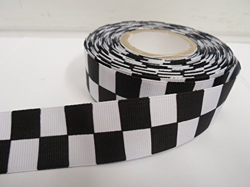 2-metres-x-25mm-woven-ribbon-black-white-square-block-checkered-chequered-pattern-racing-finish-line