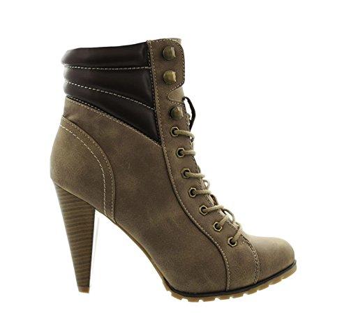 Damen Schnür High Heels Stiefeletten Ankle Boots Stiefel Schuhe 35 (41, Khaki) (Heel-schuhe Braune High)