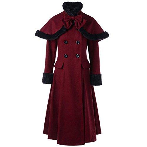 Damen Lange Mantel, ZIYOU Frau Zweireiher Wollmischung Jacke, Slim fit Trenchcoat Lange Ärmel Coat mit Capes (XL)
