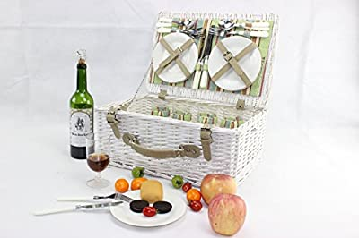 Vintage White Antique Picnic Hamper Basket for 4 Persons With Easy Carry Handle