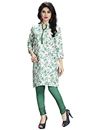 Venisa Women's Printed Cotton Kurti ( Green & Off White_6003 -M)