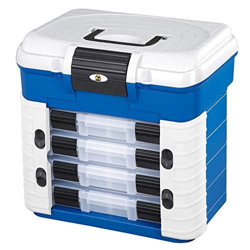 Angelkoffer mit ergonomischen Sitz, Der Kasten beinhaltet vier Sortierboxen für Kleinteile mit verstellbaren Unterteilungen