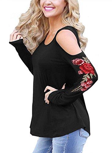 Braune Cut-out (Zhaoyun Damen kalte Schulter Langarm Floral bestickte Hemd Bluse Langarmshirt Tops Schwarz-S)