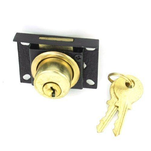 Gold ton Schwarz Schrank Sicherheit Lange zylindrische Locking Drawer Lock w 2Schlüssel