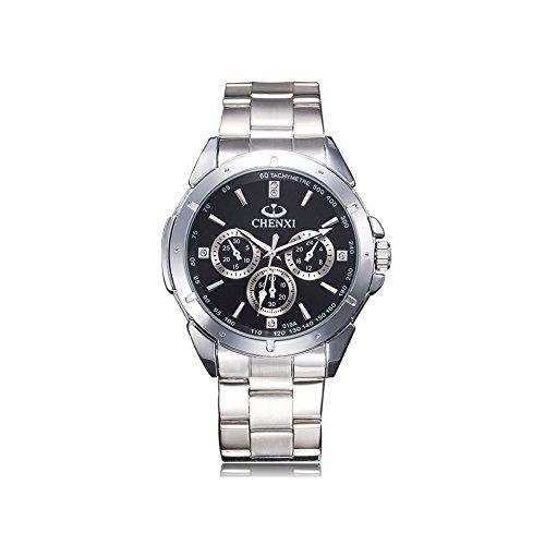 Herren Edelstahl Uhren Männer Sport Wasserdicht Luxus Design Armbanduhr Geschäfts Beiläufig Mode Analog Quarz Silber Uhrenarmband
