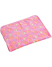 Electomania Warm Cartoon Paw Print Cushion for Puppy Fleece Soft Blanket Bed Mat (Pink,Small)