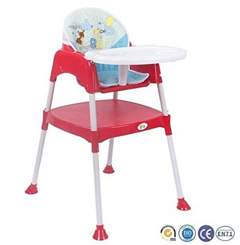 Baby HighChair BPA FREE / Adjustable Portable Space Saver Convertible 3-in-1 (with cushion) (Red) by Bey Bee