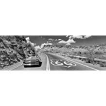 Panoramic Images – Vintage car moving on the road, Route 66, Arizona, USA Artistica di Stampa (91,44 x 30,48 cm)