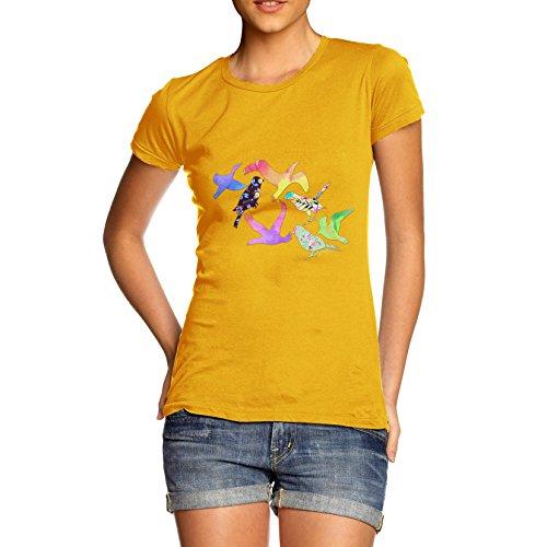 Damen Rainbow Birds T-Shirt Gelb