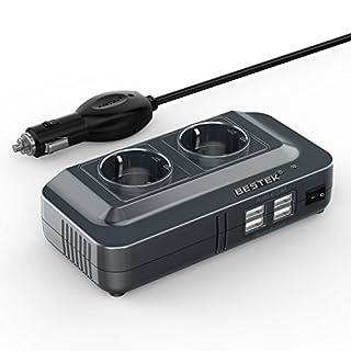 BESTEK 200W KFZ Spannungswandler Wechselrichter 12V auf 230V Inverter mit 2 Steckdosen und 4 USB Autoladegerät inkl. Zigarettenanzünder Stecker Schwarz