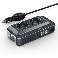 BESTEK Inversor de Corriente 200W, Transformador 12V a 220V con 4 Salidas USB, 2 AC Tomas Y Encendedor, Convertidor Onda sinusoidal con Protección para Barco, Caravana,Coche