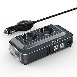 BESTEK 200W Inverter da Auto 12V a 230V con 4 Porte Smart USB 2 Prese AC, Convertitore Potenza per Auto/Camper/Barca a…