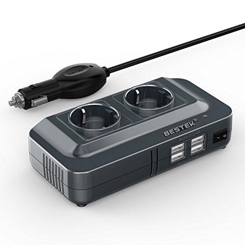 BESTEK 200W Inverter da Auto 12V a 230V con 4 Porte Smart USB 2 Prese AC, Convertitore Potenza per Auto/Camper/Barca a Onda Sinusoidale Modificat