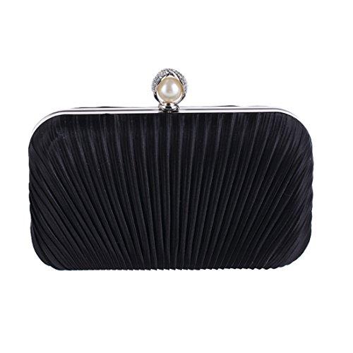 FELICIPP Frauen Diamant Clutch Handtasche Handtasche Mode Abendtasche Plissee Stoff Handwerk Tasche (Farbe : Schwarz) -