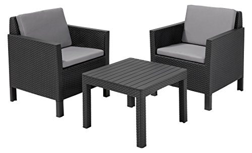 Allibert Balkon-Set Chicago 3tlg, graphit/cool grey