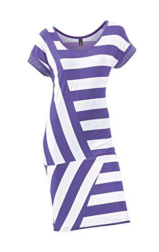 Heine - Best Connections Damen-Kleid Streifenkleid mit Steinen Mehrfarbig ecru-lila