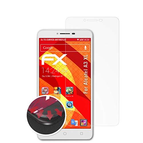 atFolix Schutzfolie passend für Alcatel A3 XL Folie, entspiegelnde & Flexible FX Bildschirmschutzfolie (3X)