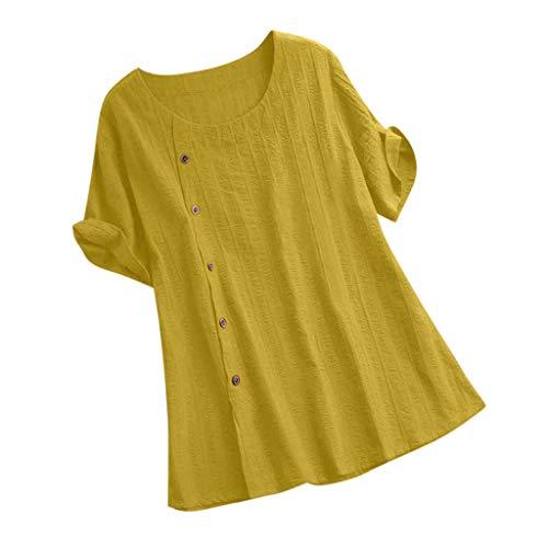 TOPSELD T Shirt Damen, Frauen LöSen Fest Farbe Baumwolle Und Leinen O-Ausschnitt Kurzarm,T-Shirt Bluse